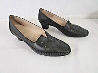 SAS Sonyo Black Slip-On Shoe Size 9 Narrow Leather Laser Cut Moccasin Heel