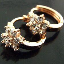 FSAN542 GENUINE 18K ROSE G/F GOLD SOLID DIAMOND SIMULATED HUGGIE HOOP EARRINGS