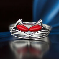 Koralle Silber 925 Ring Sterlingsilber Damen Schmuck verschiedene Größen R0371