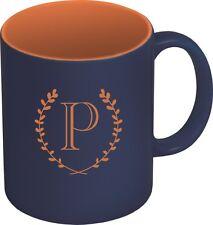 Personalized Laser Engraved COFFEE MUG - Navy Blue & Orange - Choose your Design