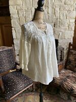 Winter White Ivory Lace Boho Peasant Blouse Fabric Button Front Small Umgee