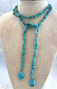 Vintage Hand Strung Turquoise Nugget Lariat Rope Necklace - 44 Inches Long
