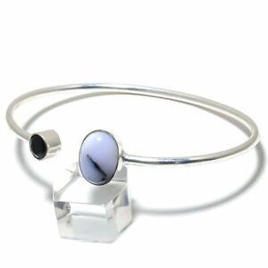 Dendrite Opal, Spinel Gemstone Handmade 925 Silver Cuff Bracelet Adjustable