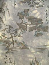Unused V LONG Mountain Scene Silk Cotton Muslin Japanese Vintage Kimono Fabric