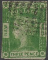 Australian States - NSW - Qn Victoria - 3d yellow green - Laureate - used - SG87