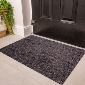 Dark Grey Non Slip Door Mat Durable Washable Hall Runner Dirt Absorbing Doormat