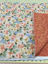 Peach Floral on Pale Yellow Double Sided Quilted Fabric for Paint Brush-Yardage
