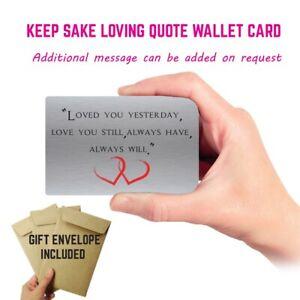 metal Keepsake poem Wallet Card Anniversary mum partner Dad Boyfriend Gift