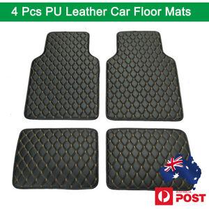 4x Black PU leather Car Interior Floor Mats Carpet Waterproof Universal AU Ship