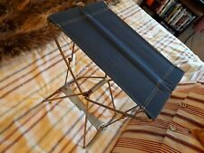 BLUE Vintage Retro Metal Folding Stool Fishing VW Camper Camping Picnic