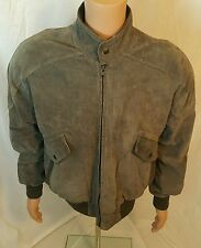 Mens Vintage Members Only Jacket Gray 100% Suede Leather Size 44 L