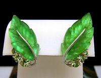 Iconic Vintage Lisner Green Glowing Lucite Leaf Earrings Rhinestones Screw Backs