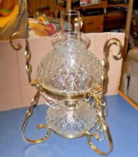 FENTON CLEAR GLASS QUILTED DIAMOND OIL LAMP HANGING OR TABLE STANDING VERY GOOD