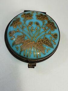 Antique Victorian Moser Turquoise Opaline Glass & Gilt Enamel Pill Box C1880