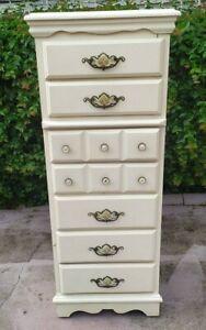 "Vintage Sears Homestead Provincial 7 Drawer tall Dresser White 20""w x 16""d x 49"""