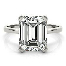 Diamond Engagement Ring .925 Silver Ring 2.10+ Ct Emerald Near White Moissanite