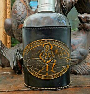 Antique Tooled Leather Flask in Holder Pirate Carlos Pirez established 1854