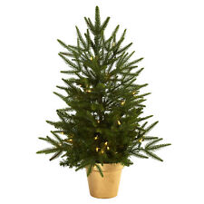 Small Artificial 2.5 ft Christmas Tree with Clear Led Lights Golden Pot Planter