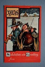 R&L Postcard: Greetings, Christmas Men Playing Fiddle Violin, Brass Horn