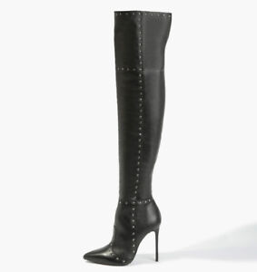 ELENA natural Italian leather overknee boots with silver studs