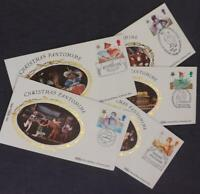 1985 Christmas Set of 5 Benham Silk First Day Cover 5 Better SHS Postmarks SM21