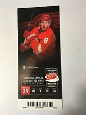 DETROIT RED WINGS VS VANCOUVER CANUCKS OCTOBER 22, 2017 TICKET STUB