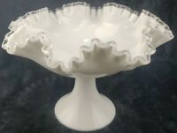 Large Fenton Glass Pedestal Bowl Compote Silvercrest Milk Glass Ruffled Ribbon