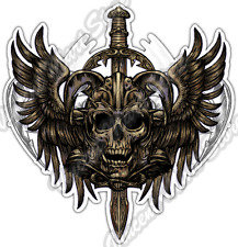 Zombie Skull Wings Sword Gothic Ancient Car Bumper Vinyl Sticker Decal 4.6""