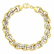 Doble enlace pulsera en oro 14K-plata esterlina de servidumbre