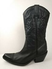 KB Co Womens 7 M Black Leather Cowboy Boots Western Pull On Mid Calf Clare Shoes