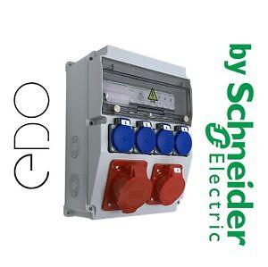 Baustromverteiler Wandverteiler EDO Komplett 32A 16A mit Schneider Sicherungen
