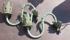 Paire d'applique art deco ancienne bronze et régule patine verte dlg le verrier