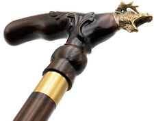 Moose Luxury Wooden Walking Cane Stick Hand Carved Support Canes Handmade 36""