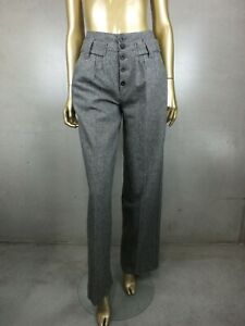 PEPE JEANS : HIGH WAIST WIDE LEG WOOL PANTS : EXPOSED BUTTONS :  SIZE 28