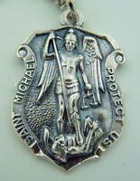 """Mens St Michael 1 1/4"""" Italian Hand Crafted Silver Shield Protection Pendant"""
