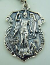 "Mens St Michael 1 1/4"" Italian Hand Crafted Silver Shield Protection Pendant"