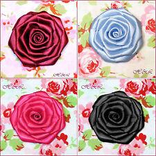 "6 Handmade 2"" 3"" Blue Pink Wine Satin Fabric Bridal Hat Dress Corsage ROSE Large"