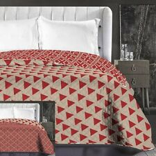 Reversible Geometric Burgundy Red Beige Triangles Bedspread Throw Size 220x240cm