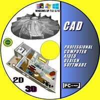SUPERB 2D & 3D PROFESSIONAL CAD COMPUTER AIDED DESIGN SOFTWARE 4 WINDOWS +MANUAL