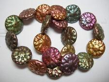 13 Mint Green Metallic Gold Chunky Czech Coin Beads 15mm