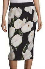 DOLCE&GABBANA Black with White Flowers Stretchy Midi Skirt SIZE IT40 US4