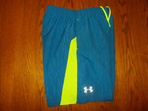 UNDER ARMOUR BLUE FITTED RUNNING SHORTS WITH LINER MENS SMALL EXCELLENT COND.