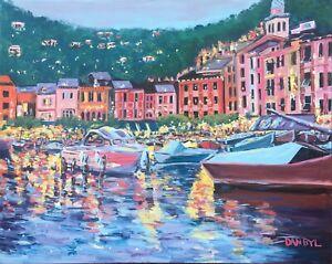 Portofino Italy Original Art PAINTING DAN BYL Modern Contemporary Large 4x5ft