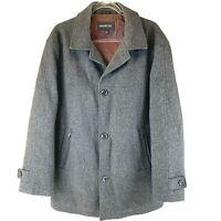 LONDON FOG Classic Mens Size Large Grey Wool Overcoat Jacket