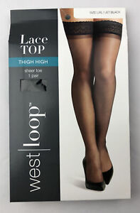 West Loop Lace Top Thigh High Sheer Toe Hose Size L/XL Jet Black
