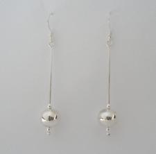 925 Sterling Silver 10 mm Ball Long Bar Drop Dangle Earrings