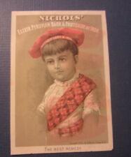 1884 NICHOLS BARK & IRON Remedy Medicinal Victorian Trade Card - Billings Clapp
