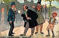 1907 VINTAGE ENGLAND COMIC GENTLEMEN FOREIGN MALES & ENGLISHMAN POSTMAN POSTCARD