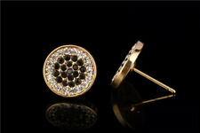 Mens Gold Plated ICED OUT 3 Tone Black White Cz Micropave Earring Stud Hip Hop