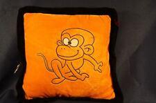 "Orange Monkey Throw Pillow Child Room Decor Plush Square 10"" Stuffed Toy Lovey"